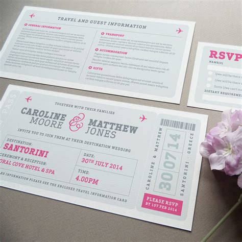airline boarding pass wedding invitation by project pretty