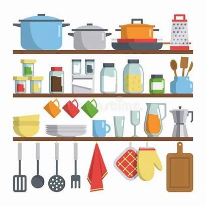 Kitchen Vector Equipments Tools Shelf Illustration Flat