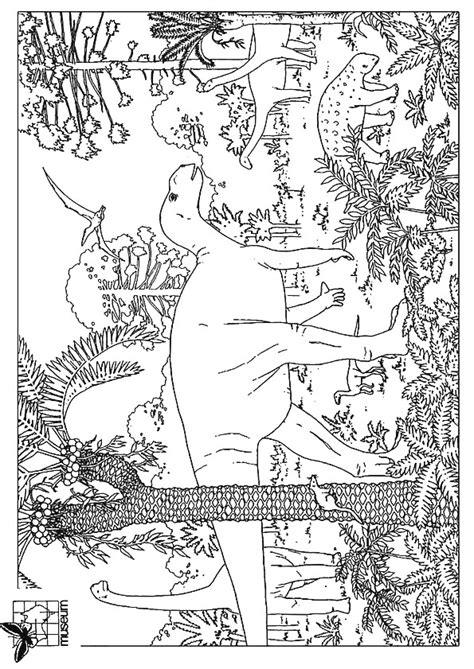 coloriage paysage de dinosaures dessin gratuit  imprimer
