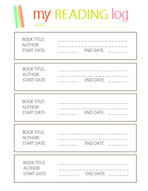 reading journal template printable reading log for elementary