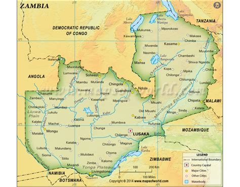 buy zambia physical dark green map