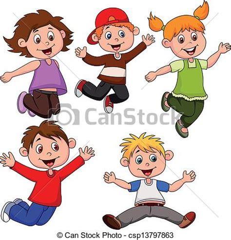vector illustration  happy children cartoon