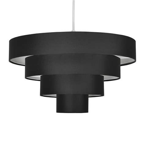 modern black fabric 4 tier ceiling pendant light