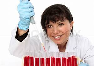 Female Biologist  Hematologist  Holding A Manual Pipette