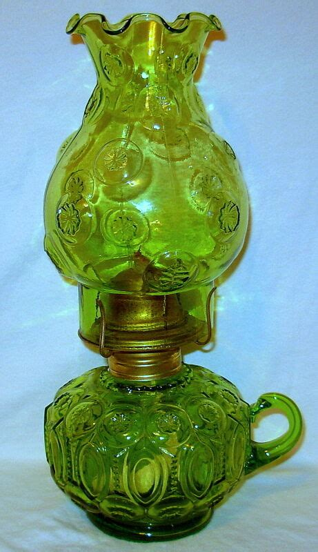 glass depression oil lantern kerosene eagle ornate