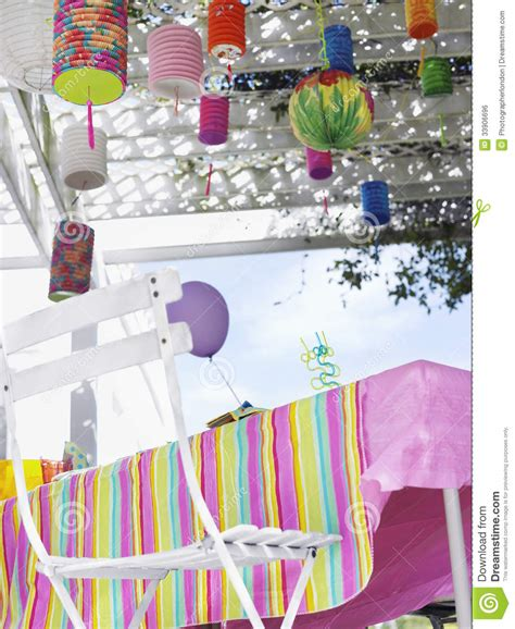 decorated outdoor table  birthday party stock photo
