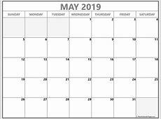 May 2019 blank calendar templates
