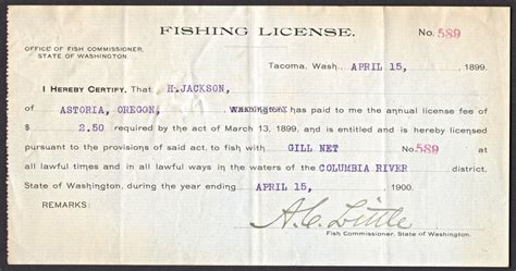 fishing license washington 1899 hunting gill 1900 licenses earliest 1919 stamps clipground