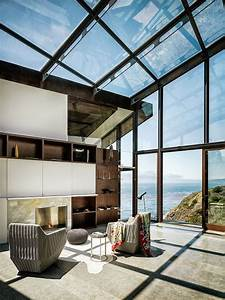 Vacation, House, With, Glass, Walls, And, Ceilings, On, The, Coast