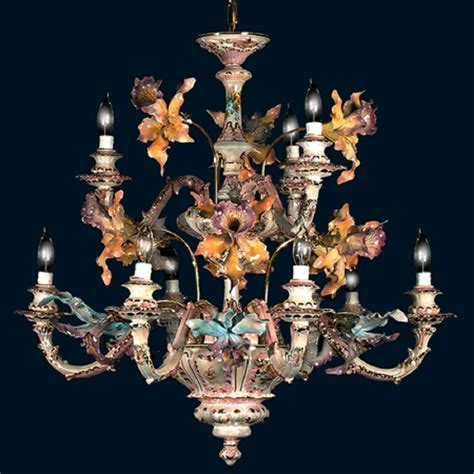 the italian chandelier capodimonte made in italy 9 light orchid chandelier