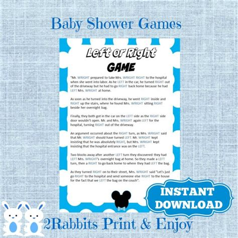 Left Right Story For Baby Shower by Mickey Mouse Left Or Right Baby Shower Instant