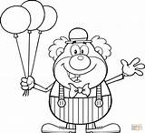 Coloring Clown Balloons Printable Drawing Crafts sketch template