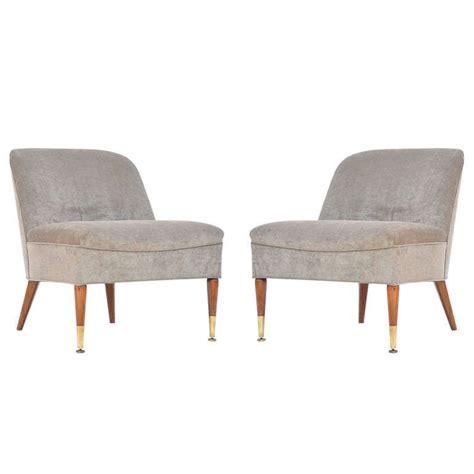 Pair of Chic Taupe Velvet Upholstered Slipper Chairs ...