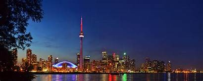 Toronto Night Skyline Panorama Landscape Canada During