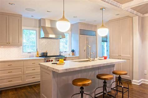 gray kitchen  backless wood  iron stools