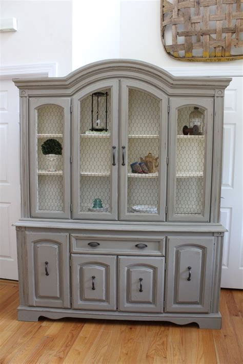 Vintage China Cabinet / Hutch & Buffet with Chicken Wire