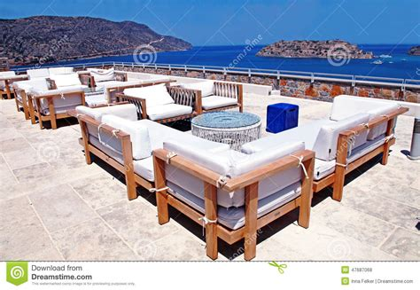 outdoor furniture and terrace seaview crete greece