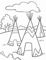 Tipi Drawing Teepee Coloring Getdrawings Indian sketch template