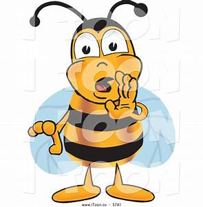 Royalty Free Cartoon of a Sneaky Bee Mascot Cartoon ...
