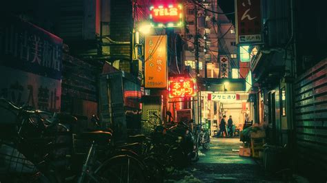 japanese tokyo neon light bicycle wallpapers hd