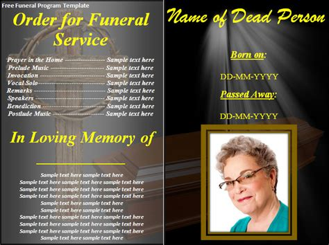 free funeral templates card templates archives best word templates