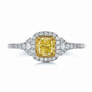 fancy yellow diamond with halo engagement ring 100564 With fancy diamond wedding rings