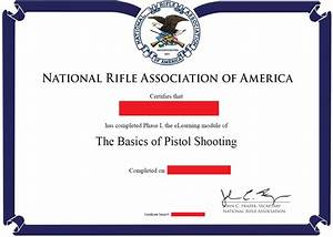 online nra basic pistol training armed2defend With nra certificate template