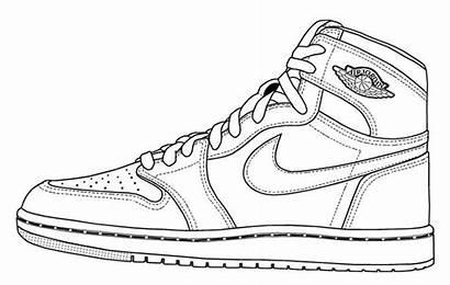 Coloring Jordan Shoes Shoe Drawing Retro Google