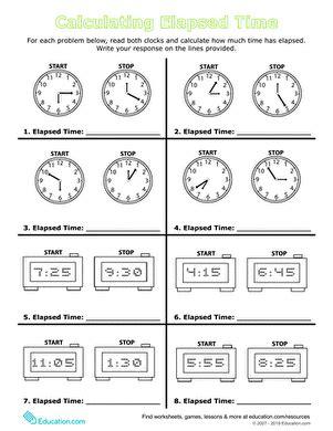 Calculate Elapsed Time  Worksheet Educationcom