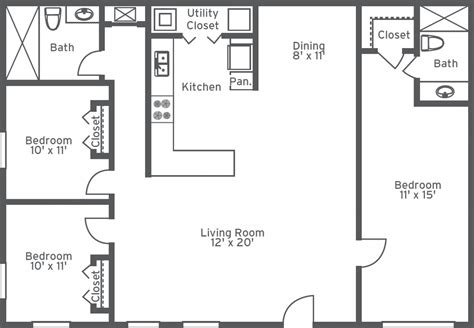 3 Bedroom 2 Bath Apartment Floor Plans Latest