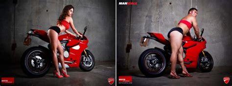 men pose  motorcycle babes  hilarious campaign randommization