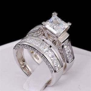 Ring Set Silber : sterling silver 14k white gold princess diamond cut engagement wedding ring set ebay ~ Eleganceandgraceweddings.com Haus und Dekorationen
