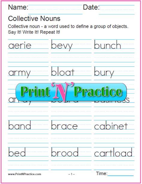 collective nouns worksheets  grade  advance