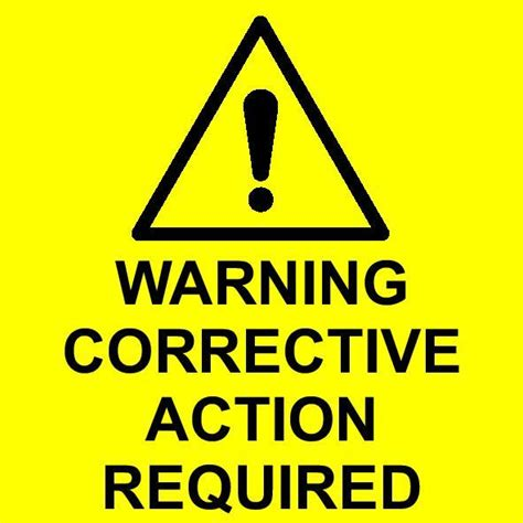 warning corrective action required labels fire