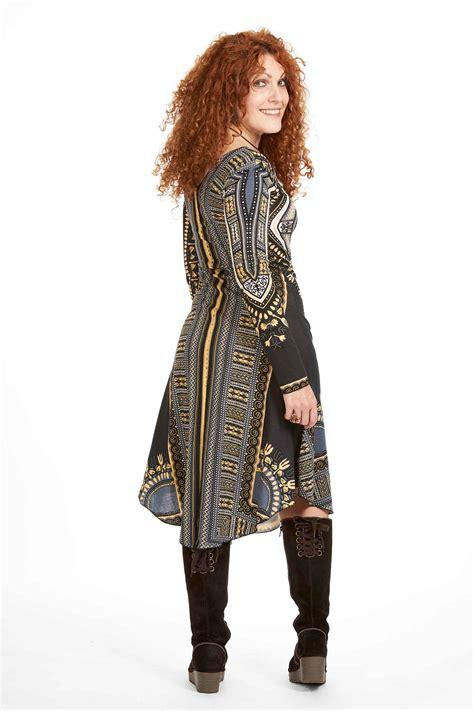 african dashiki dress angelina tribal print long sleeve