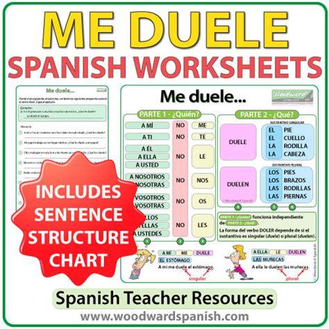 me duele worksheets