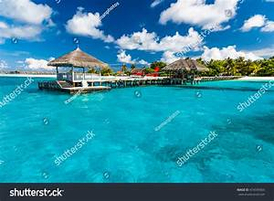 Beautiful Harbor Bridge Island Maldives Perfect Stock ...