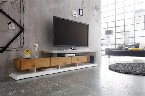 Modernes Tvlowboard Emela 198cm Edelmatt Weiß Asteiche