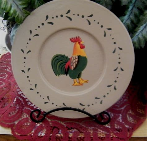 Decorative Chicken Plates - 7 quot country wood decorative plate charger chicken rooster