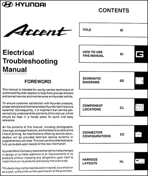 2002 hyundai accent electrical troubleshooting manual original