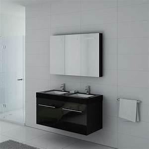 Meuble Vasque Double : meuble double vasque noir dis1200n meuble de salle de bain double vasque 120 cm ~ Teatrodelosmanantiales.com Idées de Décoration