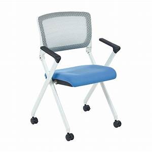 Space, Seating, Folding, Chair, With, Screen, Back, And, Sky, Fabric, Mesh, Seat, In, White, Finish, Frame