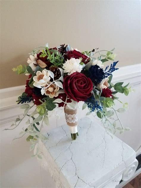 silk  sola wood flowers bouquet  burgundy navy