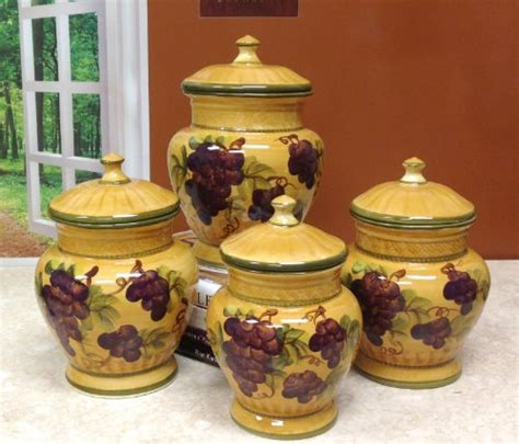 tuscan kitchen canisters sets tuscany grapes 4pc canisters kitchen decor set 44 58