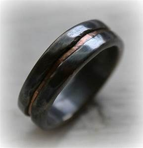 Mens wedding band rustic fine silver and copper by for Mens copper wedding rings