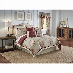 waverly, fresco, flourish, 4, piece, reversible, bedding