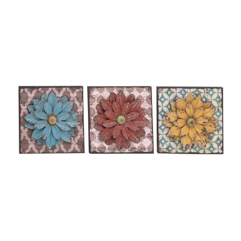 Create your own cluster of bursts or accessorize a gallery wall with the stratton home decor set of 3 gold mirror burst. Benzara 3 Piece Unbeatable Metal Flower Wall Decor Set ...