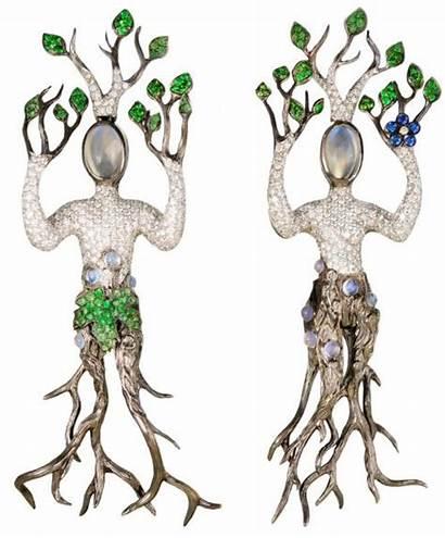 Tree Asymmetrical Surrealism Moonstone Garnets Homage Diamonds