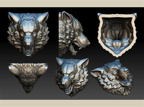 stylized wolf head   model  printable obj fbx