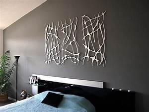 Art nouveau web trio in brushed aluminum wall sculpture
